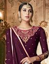 photo of Fancy Embroidery Work On Georgette Purple Sangeet Wear Anarkali Salwar Suit