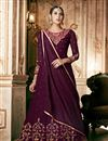 image of Fancy Embroidery Work On Georgette Purple Sangeet Wear Anarkali Salwar Suit