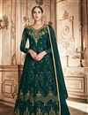 image of Dark Green Color Georgette Fabric Sangeet Wear Anarkali Suit With Embroidery Work