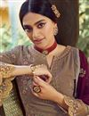 photo of Georgette Fabric Party Style Dark Beige Color Elegant Embroidered Palazzo Suit