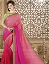 image of Embroidered Peach Designer Saree In Fancy Fabric With Party Wear Blouse