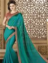 image of Fancy Fabric Party Wear Saree In Teal Color With Embroidery Designs