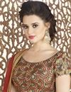 photo of Rust Embroidery Work On Fancy Fabric Function Wear Saree With Blouse