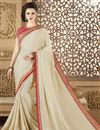 image of Embroidery Designs On Fancy Fabric Beige Function Wear Saree