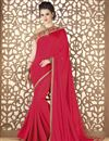 image of Embroidered Red Designer Saree In Fancy Fabric With Party Wear Blouse