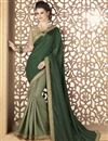 image of Fancy Fabric Party Wear Saree In Dark Green With Embroidery Designs