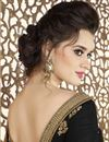 picture of Black Fancy Fabric Function Wear Saree With Embroidery Work