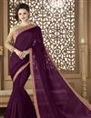 image of Purple Embroidery Work On Fancy Fabric Function Wear Saree With Blouse