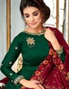 photo of Georgette Designer Dark Green Fancy Anarkali Suit With Embroidery Work