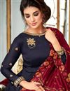 photo of Navy Blue Party Wear Designer Georgette Anarkali Dress With Fancy Embroidery Work
