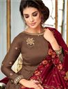 photo of Brown Georgette Designer Wedding Wear Anarkali Suit With Fancy Embroidery