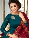 photo of Party Style Designer Georgette Fancy Anarkali Dress In Teal With Embroidery