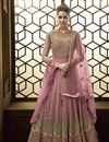 image of Pink Function Wear Designer Long Length Embroidered Anarkali Suit In Net Fabric
