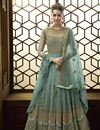 image of Function Wear Cyan Designer Net Fabric Embroidered Long Length Anarkali Suit