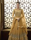 image of Net Fabric Designer Mustard Function Wear Floor Length Embroidered Anarkali Suit