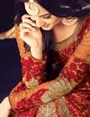 photo of Eid Special Sonal Chauhan Featuring Rust Color Georgette Fabric Embroidered Festive Wear Anarkali Suit