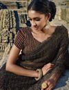 photo of Grey-Brown Net Wedding Wear Embroidered Saree