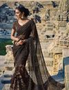 image of Grey-Brown Net Wedding Wear Embroidered Saree