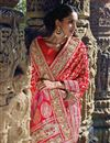 photo of Red-Magenta Wedding Wear Embroidered Net Saree