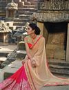 photo of Pink-Beige Lycra-Chiffon Embroidered Designer Sari