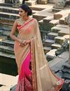 image of Pink Embroidered Wedding Wear Lycra-Chiffon Saree