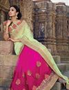 photo of Pink-Sea Green Embroidered Designer Chiffon Saree