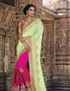 image of Pink-Sea Green Embroidered Designer Chiffon Saree