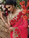 photo of Pink Net Wedding Wear Embroidered Saree