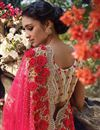 picture of Pink Net Wedding Wear Embroidered Saree