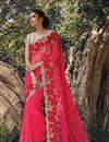 image of Pink Net Wedding Wear Embroidered Saree