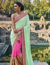image of Pink-Sea Green Bemberg Embroidered Designer Saree