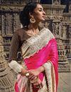photo of Magenta-Beige Embroidered Wedding Wear Silk Saree