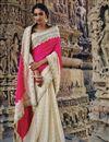 image of Magenta-Beige Embroidered Wedding Wear Silk Saree