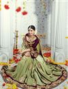 photo of Fascinating Green Color Designer Satin And Silk Wedding Saree