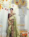 image of Fascinating Green Color Designer Satin And Silk Wedding Saree