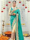 image of Fabulous Cyan And Cream Color Silk Wedding Wear Saree