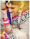 photo of Fascinating Cream And Pink Color Designer Georgette And Silk Wedding Saree