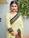 photo of Cream Color Georgette Designer Wedding Saree