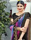 photo of Blue And Black Color Magnetic Silk And Net Designer Wedding Saree