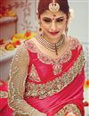 picture of Beige And Pink Color Tantalizing Designer Wedding Saree With Silk And Net Fabric