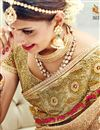 photo of Gorgeous Beige Color Net Wedding Wear Designer Saree