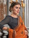 photo of Festive Wear Orange Fancy Art Silk Fabric Saree With Embroidery Work