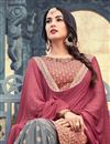 photo of Sonal Chauhan Georgette Designer Embroidered Palazzo Suit In Burgundy Color