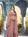 image of Sonal Chauhan Chikoo Color Georgette Function Wear Embroidered Anarkali Suit