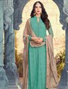 image of Festive Special Sonal Chauhan Cyan Embroidered Function Wear Designer Dress