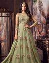 image of Festive Special Sonal Chauhan Net Fabric Designer Embroidered Anarkali Salwar Kameez In Green