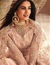 photo of Sonal Chauhan Peach Designer Party Wear Long Anarkali In Net