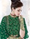 photo of Embellished Dark Green Georgette Fancy Anarkali Dress With Front Slit