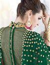 photograph of Embellished Dark Green Georgette Fancy Anarkali Dress With Front Slit