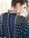 photo of Georgette Party Wear Anarkali Salwar Kameez In Navy Blue With Embroidery Work